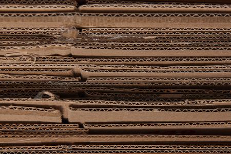 close up of brown corrugated folded cardboard Reklamní fotografie