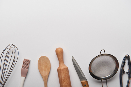 top view of cooking utensils on grey background Stok Fotoğraf