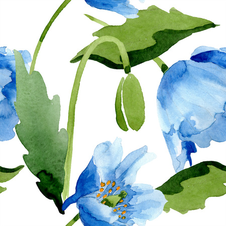 Blue poppy floral botanical flower. Wild spring leaf isolated. Watercolor illustration set. Watercolour drawing fashion aquarelle. Seamless background pattern. Fabric wallpaper print texture. Zdjęcie Seryjne