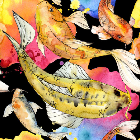 Watercolor aquatic underwater colorful tropical fish set. Red sea and exotic fishes inside: Golden fish. Aquarelle elements for background, texture, wrapper pattern. Reklamní fotografie - 118536204