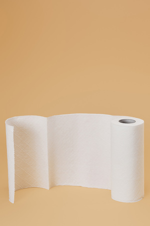 roll of paper napkin on beige background