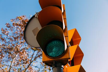 traffic light with clear blue sky on background, barcelona, spain Фото со стока