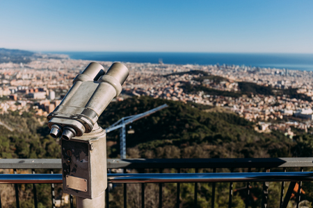 observation deck with panoramic view of city and sea, barcelona, spain Stock Photo