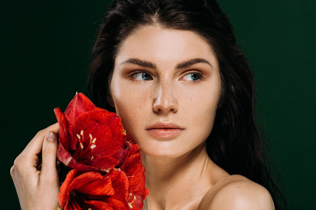 attractive girl with freckles on face posing with red amaryllis flowers, isolated on green