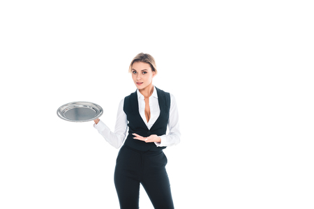 blonde waitress in black uniform standing with tray isolated on white