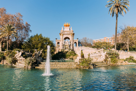 architectural ensemble and lake with fountains in Parc de la Ciutadella