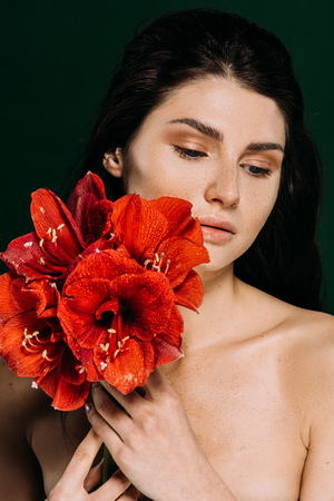 beautiful tender girl with freckles on face posing with red amaryllis flowers, isolated on green Stock Photo