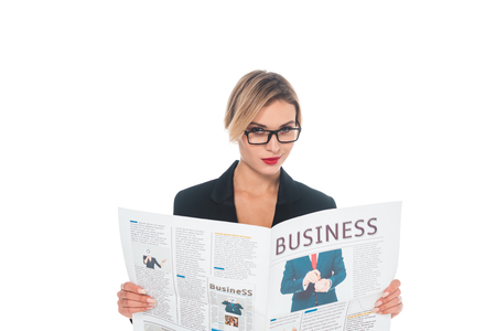 businesswoman in black formal wear with business newspaper isolated on white