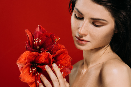 Portrait of tender young woman looking at amaryllis flowers, isolated on red