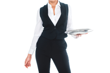 cropped view of waitress in black uniform holding silver tray isolated on white Stockfoto - 119041893