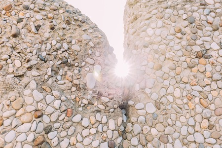 multicolored handwork stone walls on bright sunlight, barcelona, spain Stock Photo - 119057609