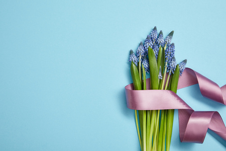 top view of blue hyacinths with violet satin ribbon on blue background Stock Photo