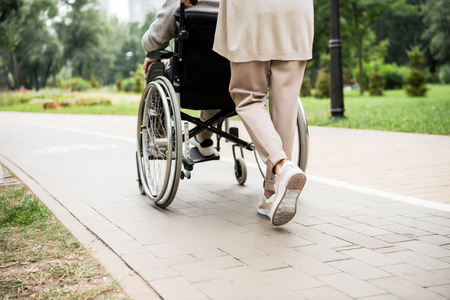 partial view of senior woman carrying husband in wheelchair while walking in park