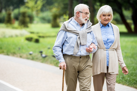 happy senior couple talking while walking in park