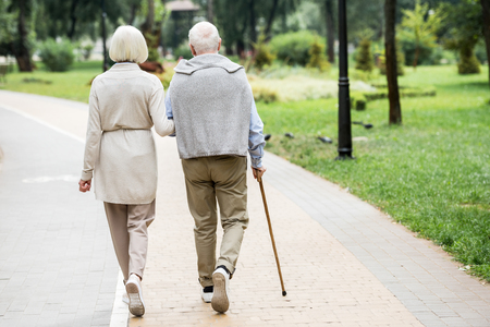back view of senior couple walking in park