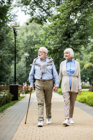 happy smiling senior couple walking in park Stok Fotoğraf - 119522077
