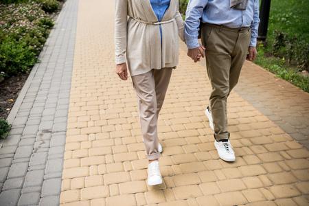 partial view of senior couple walking across paved sidewalk in park Stok Fotoğraf - 119522216