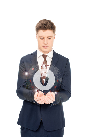 businessman in suit looking at outstretched hands with internet security icon and gbpr letters above isolated on white
