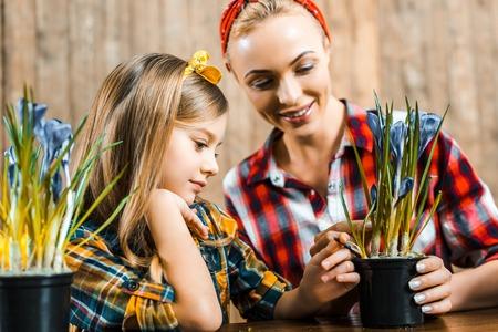 happy kid touching flowers in pot near beautiful mother Фото со стока