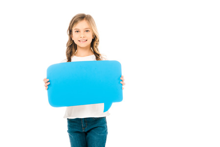 cute smiling child holding blue speech bubble isolated on white