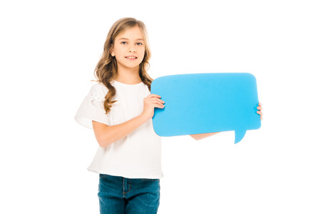 adorable smiling child holding blue speech bubble isolated on white