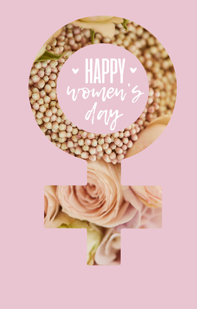 female sign of beige roses on pink background with happy womens day lettering
