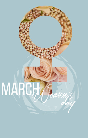 female sign of beige roses on blue background with 8 march illustration 스톡 콘텐츠