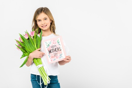 adorable child with bouquet of beautiful pink tulips and happy mothers day greeting card on white background