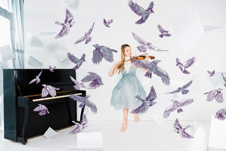 floating girl in blue dress playing violin with birds illustration Archivio Fotografico - 119969241