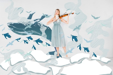 floating girl in blue dress playing violin with whale and birds illustration