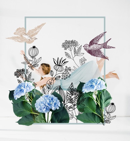 floating girl in blue dress with flowers and birds illustration Stock Photo