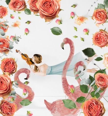 floating girl playing violin with birds and flowers illustration Stockfoto