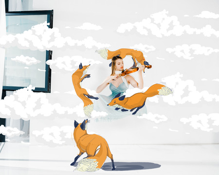 girl in blue dress playing violin with foxes illustration