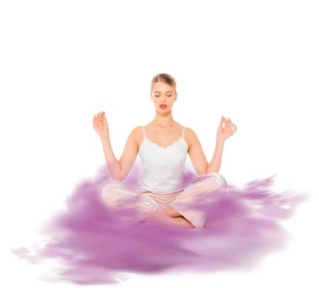 girl in lotus pose meditating with purple cloud illustration