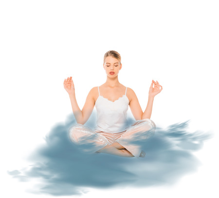 girl in lotus pose meditating with blue cloud illustration Stock Photo
