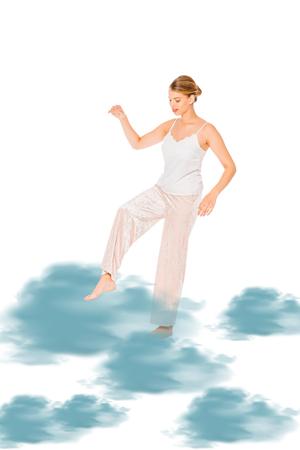 girl in pyjamas levitating with blue cloud illustration Stok Fotoğraf