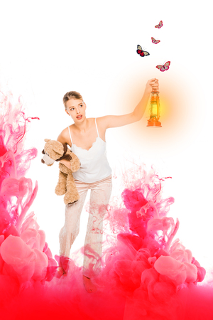 girl in pyjamas holding lantern, teddy bear with pink cloud illustration