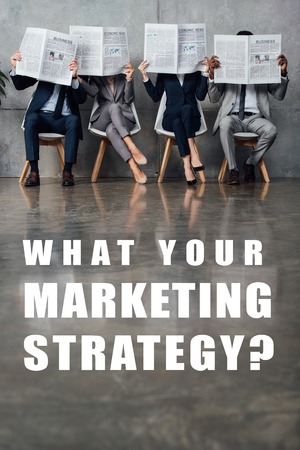 businesspeople sitting on chairs and holding newspapers in front of faces in waiting hall with what your marketing strategy question on floor