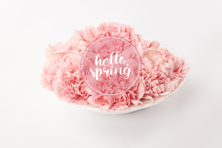 pink carnations in plate on white background with hello spring lettering