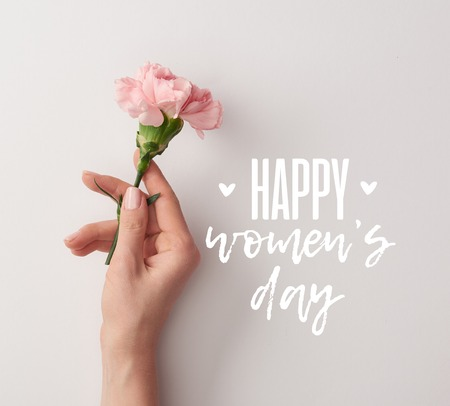 partial view of woman holding pink carnation on grey background with happy womens day lettering