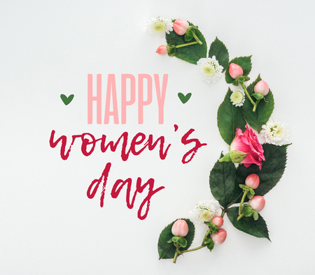 top view of composition with green leaves, rose and chrysanthemums on white background with happy womens day illustration