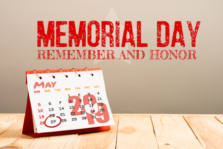 calendar with 27th May 2019 date isolated on beige with memorial day red lettering