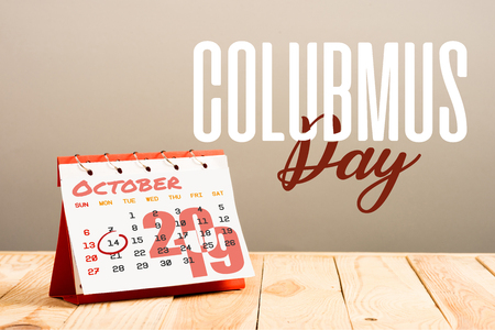 calendar with 14th October 2019 date isolated on beige with Columbus day lettering