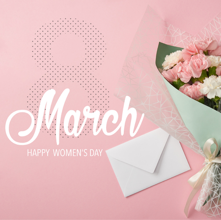 close up of pink and white carnation flowers bouquet with envelope on pink background and 8 march illustration