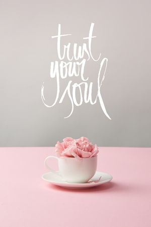 pink carnation flowers in white cup on saucer on grey background with trust your soul lettering