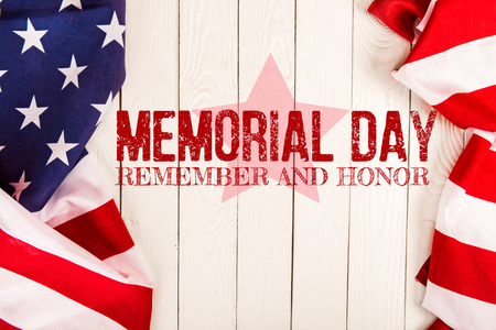 top view of american flags and memorial day lettering on white wooden surface Stok Fotoğraf - 119970258
