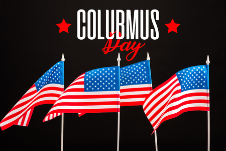 american flags with Columbus stay lettering  isolated on black Stock fotó
