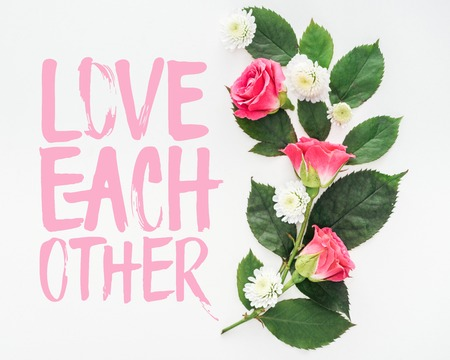 top view of flower composition and love each other illustration on white background