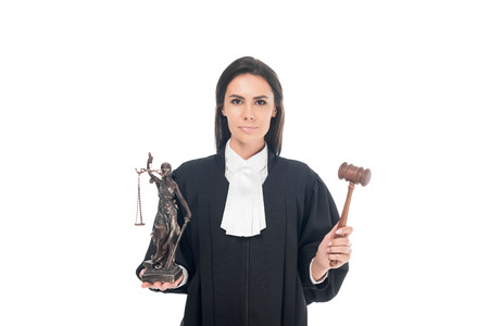 Judge in judicial robe holding gavel and themis figurine isolated on white Archivio Fotografico