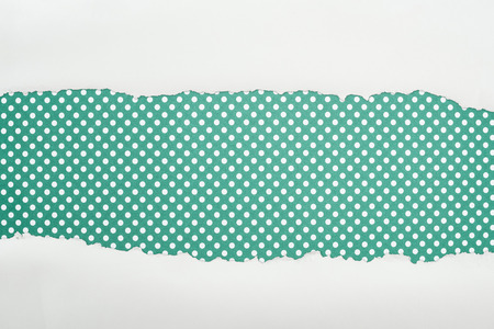 ripped white textured paper with copy space on green polka dot background